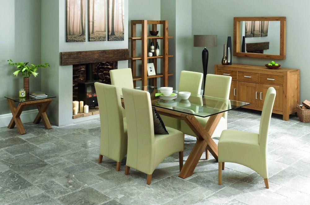 Bentley Designs Lyon Oak Glass Top Dining Table & 6 Wing Back Ivory Chairs