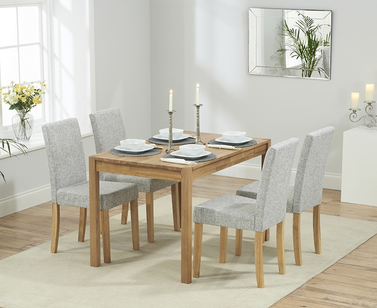 Promo 120 cm Solid Oak Dining Table with 4 Maiya Cream Fabric Chairs
