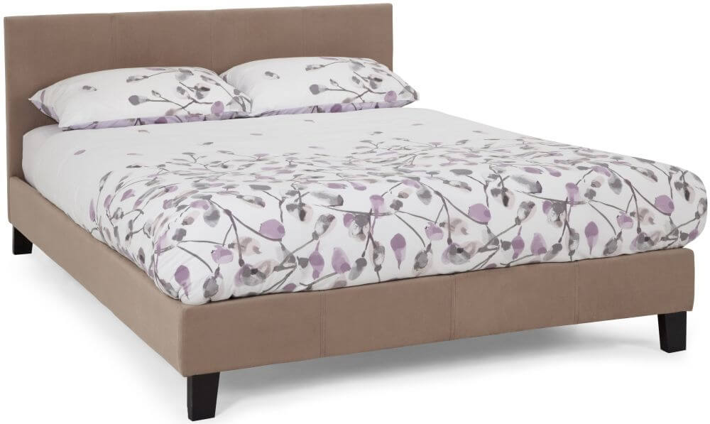 Serene Evelyn 4ft Small Double Latte Fabric Bed