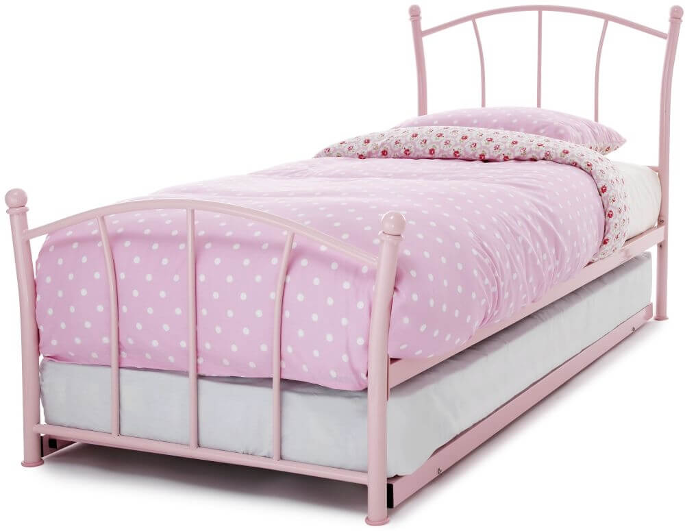 Serene Penny 3ft Single Pink Twin Metal Guest Bed