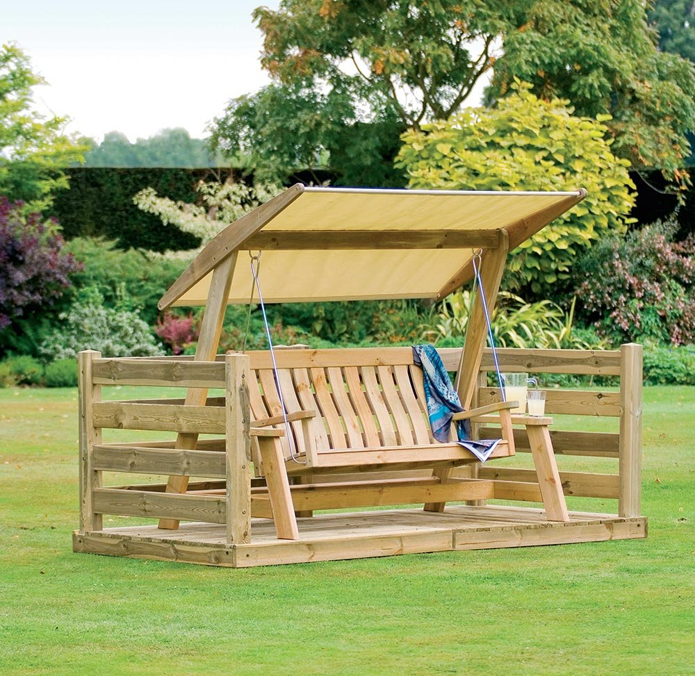 Alexander Rose Pine Farmers Green Wooden Swing Seat
