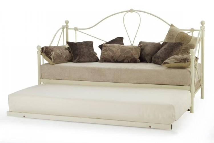 Serene Lyon 2ft6 Small Single Ivory Gloss Day Bed with Guest Bed