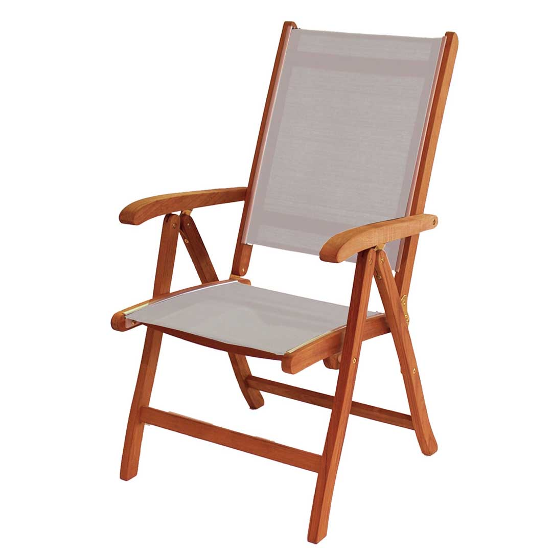 Photo of Alexander rose cornis and silver textilene recliner chair