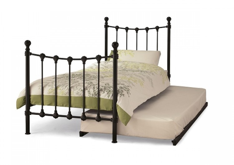Serene Marseilles 3ft Single Black Day Bed with Guest Bed