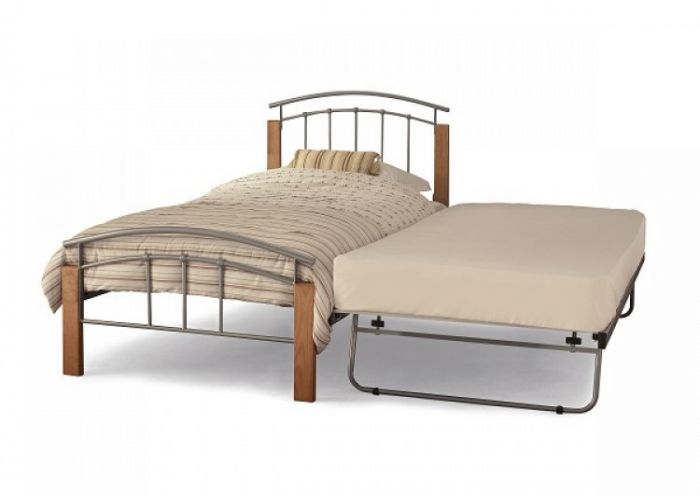 Serene Tetras 3ft Single Silver and Beech Metal Guest Bed