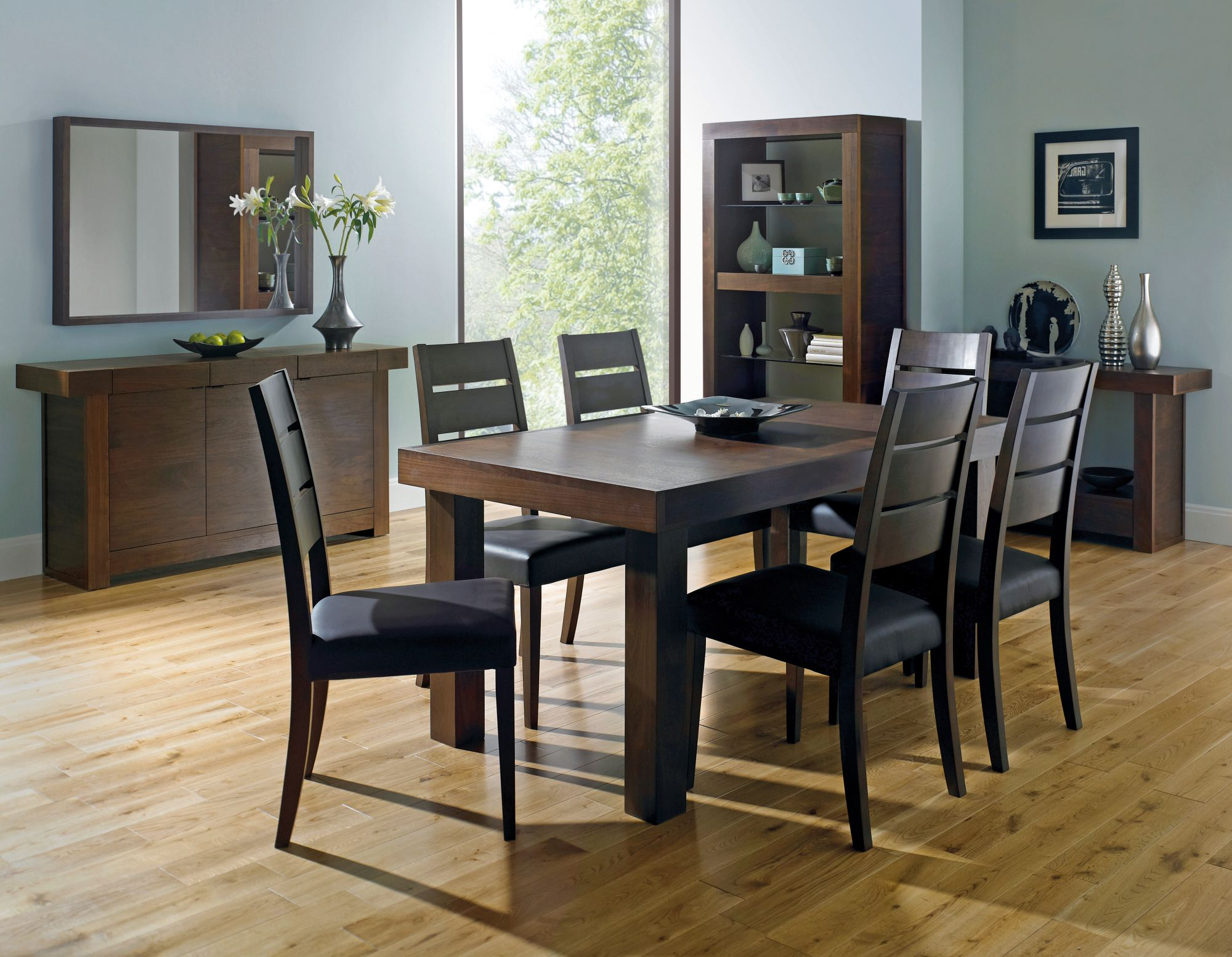 Bentley Designs Akita Walnut Panel Dining Table + 6 Slatted Chairs