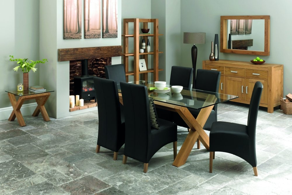 Bentley Designs Lyon Oak Glass Top Dining Table & 6 Wing Back Black Chairs