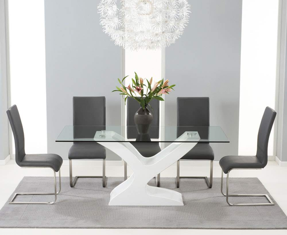 Natalie 180cm Glass Dining Table With 6 Malibu Grey Leather