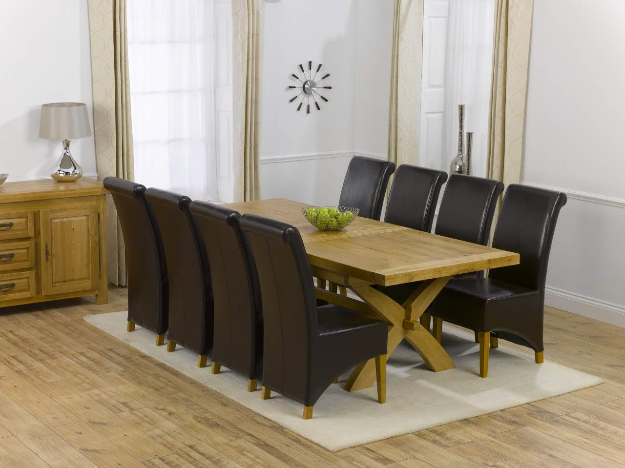 Canterbury Solid Oak Dining Table + 8 Roma Dining Chair Dini