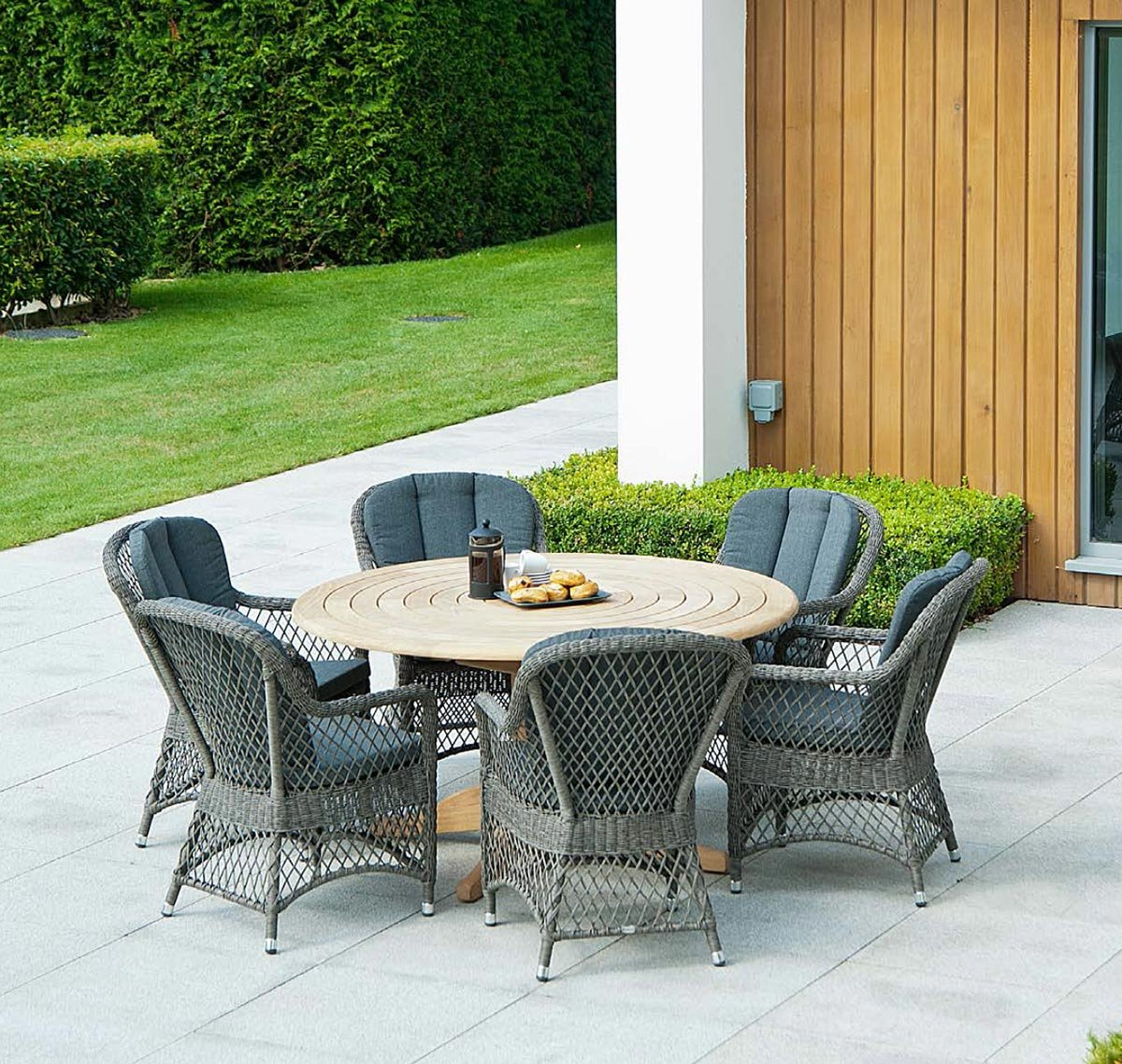 Alexander Rose Monte Carlo 6 Seat Open Weave Armchair Set with Roble Bengal Dining Table