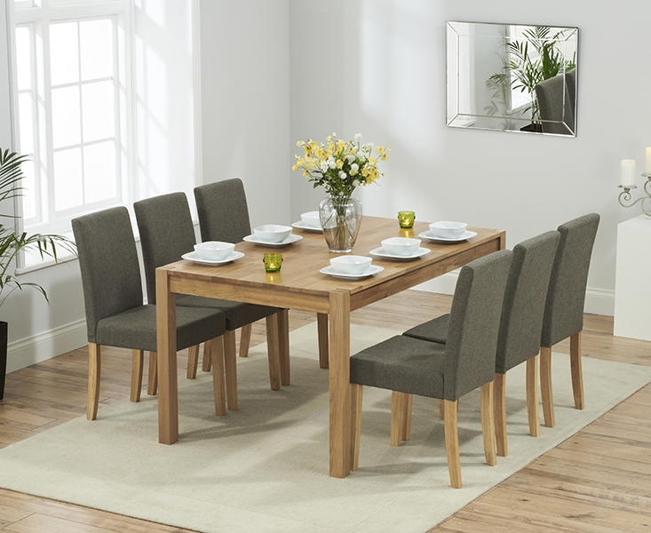 Promo 150 cm Solid Oak Dining Table + 6 Maiya Brown Fabric