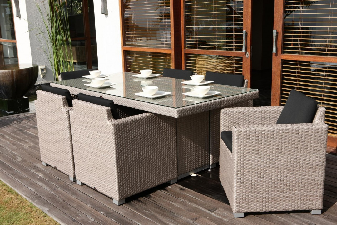 Skyline Pacific 6 Seater Rectangle Rattan Garden Set