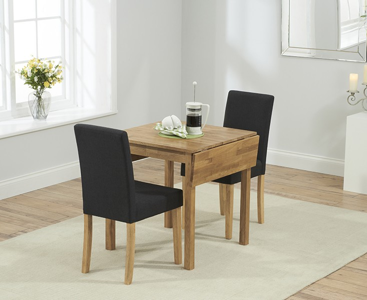 Promo Solid Oak Extending Dining Table + 2 Maiya Brown Fabric Chairs