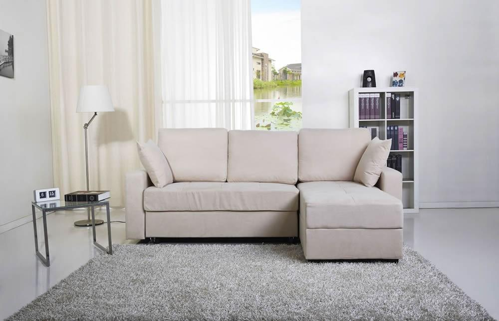 Photo of Casablanca cream fabric platform sofa bed with storage