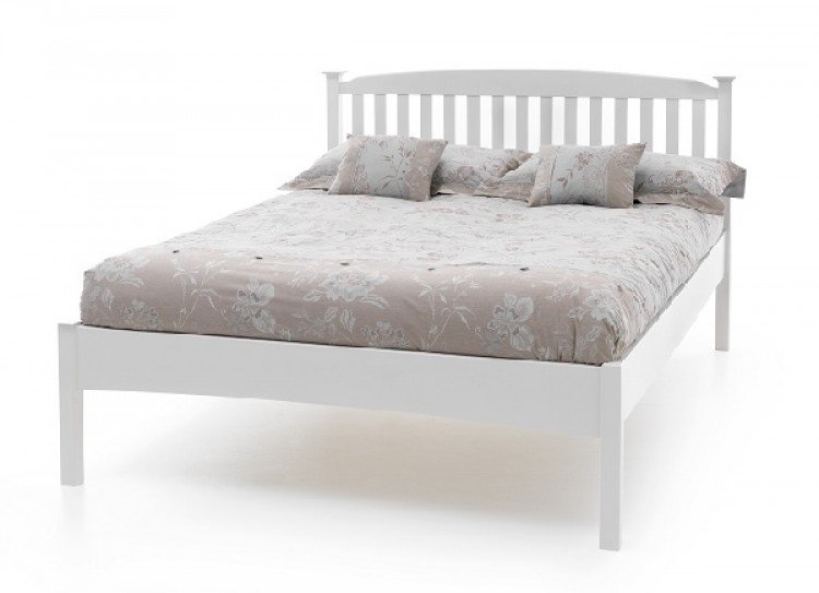 Serene Eleanor 4ft Small Double Opal White Low Foot End Wooden Bed