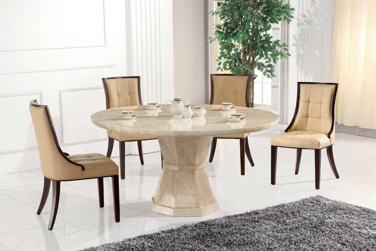 Marcello Cream Marble 130cm Round Dining Table With 4