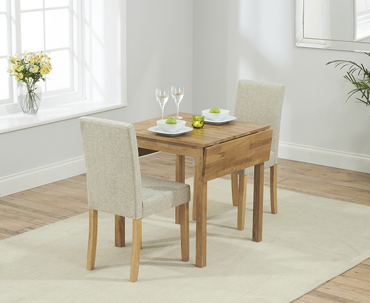 Promo Solid Oak Extending Dining Table + 4 Maiya Cream Fabri