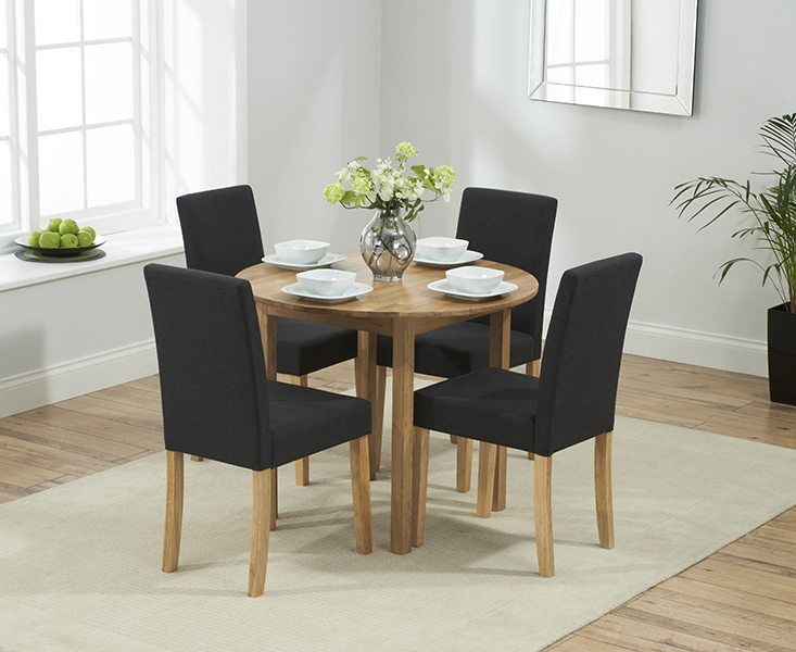 Promo Oak Round Drop Leaf Ext. Dining Table with 4 Maiya Black Chairs