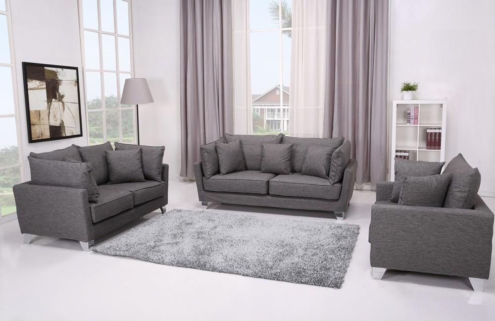 Langdon 3 Piece Misty Grey Fabric Sofa Set
