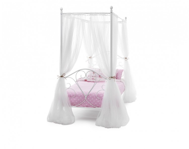 Serene Isabelle Four Poster 3ft Single White Gloss Metal