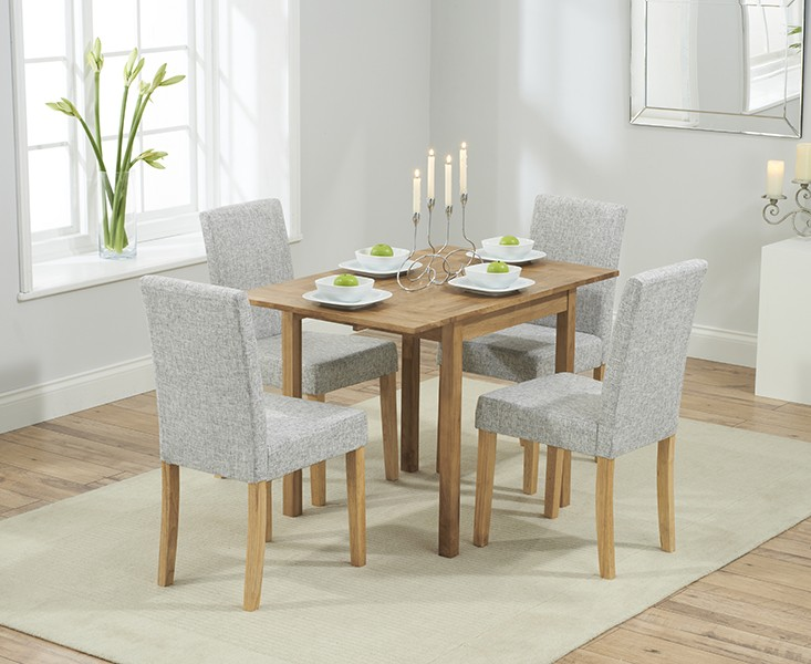 Promo Solid Oak Round Extending Dining Table + 4 Maiya Grey