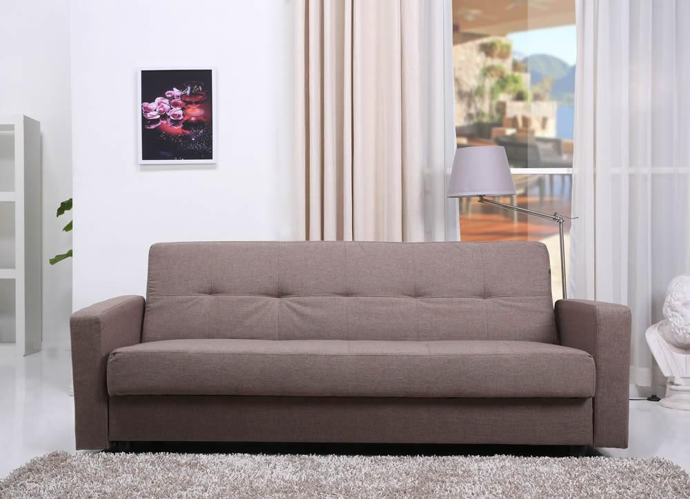 Jensen Autumn Brown Fabric Sofa Bed with Storage
