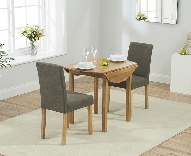 Promo Solid Oak Round Extending Dining Table + 2 Maiya Brown