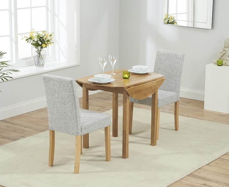 Promo Solid Oak Round Extending Dining Table + 2 Maiya