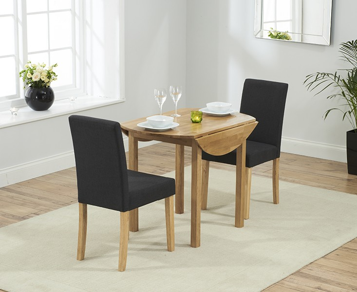 Promo Solid Oak Round Ext. Dining Table + 2 Maiya