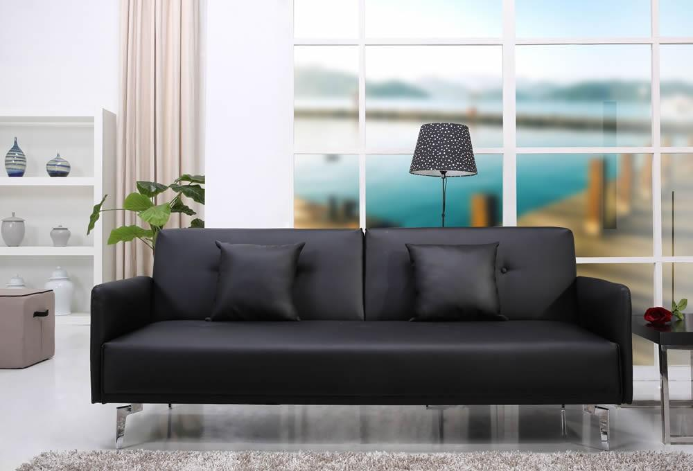 Click to view product details and reviews for Sven Luxurious Black Faux Leather Sofa Bed.