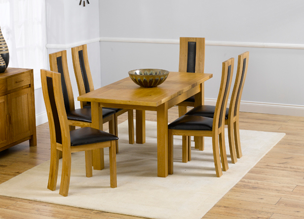 Rustique 120cm Solid Oak Extending Dining Table + 6 Havana Chairs