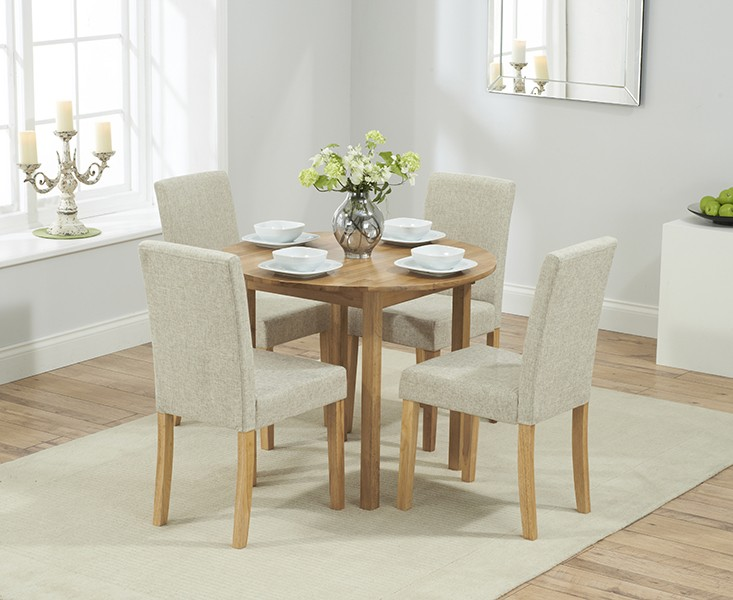 Promo Solid Oak Round Extending Dining Table + 4 Maiya Cream Fabric Chairs
