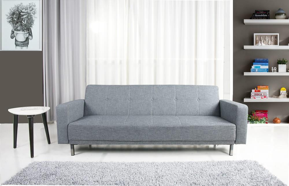 Photo of Lux 3 seater modern peppered grey fabric sofa bed