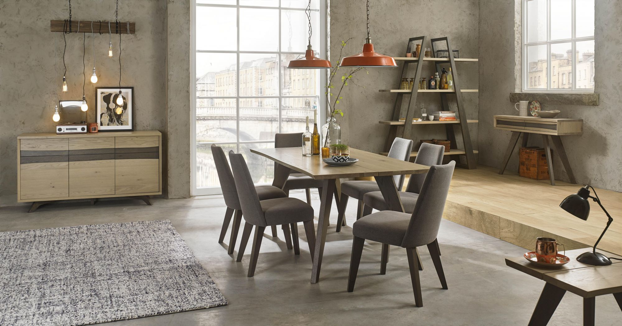 Bentley Designs Cadell Aged Oak 6 Seat Dining Table & 6