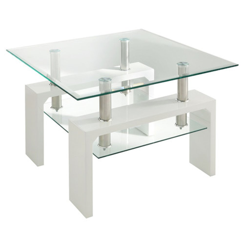 Calico White Glass End Table