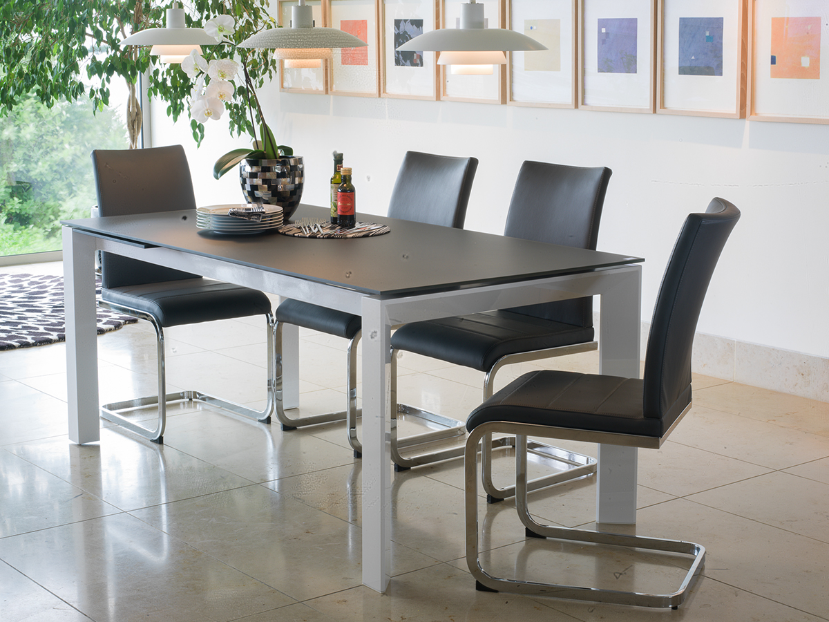 Mobo Small Ext. Grey Tempered Glass Dining Table With 4 Mobo Chairs