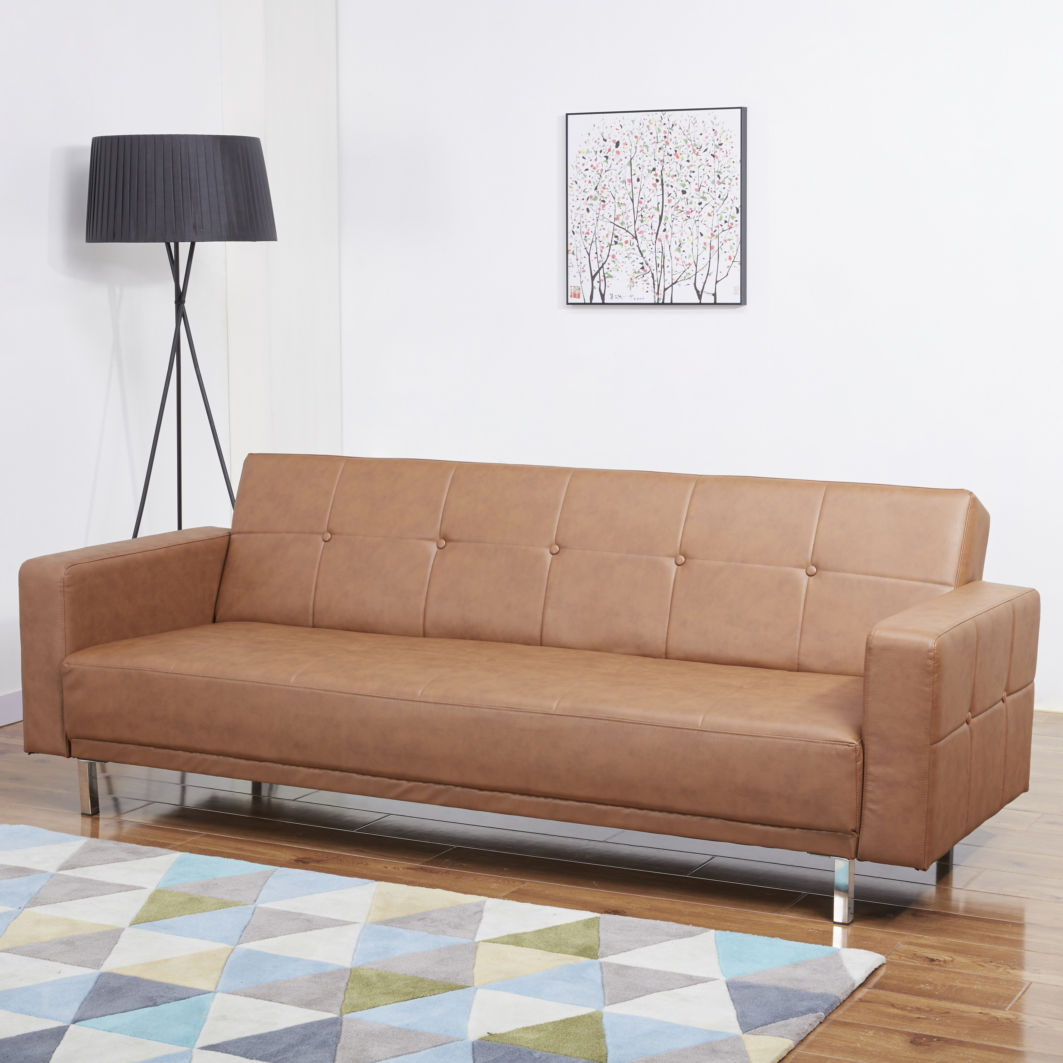 Photo of Lux 3 seater vintage brown leather sofa bed