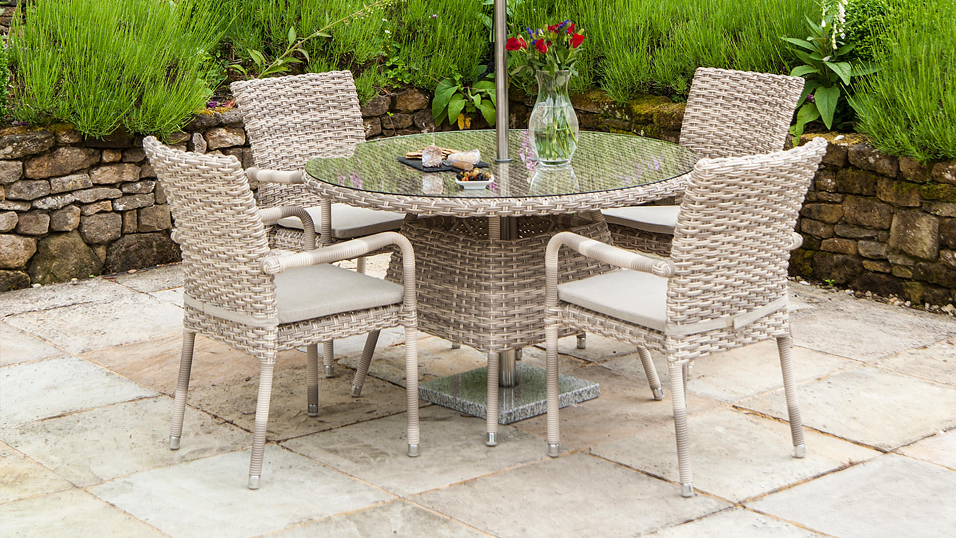Alexander Rose Kool 4 Seater Brown Rattan Round Dining Set