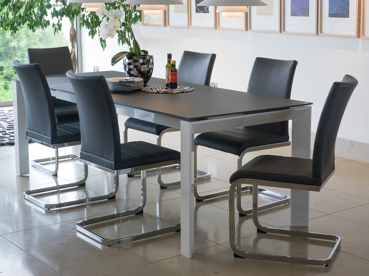 Photo of Mobo large ext. grey tempered glass dining table with 8 mobo chairs