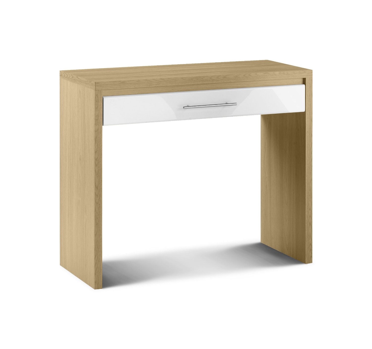 Photo of Julian bowen stockholm white high gloss with oak finish dressing table