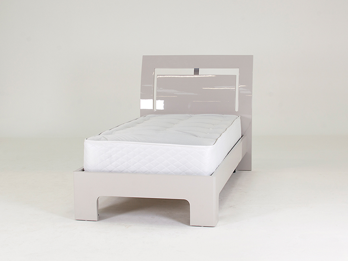 Mirelle 3ft Single Grey High Gloss Bed