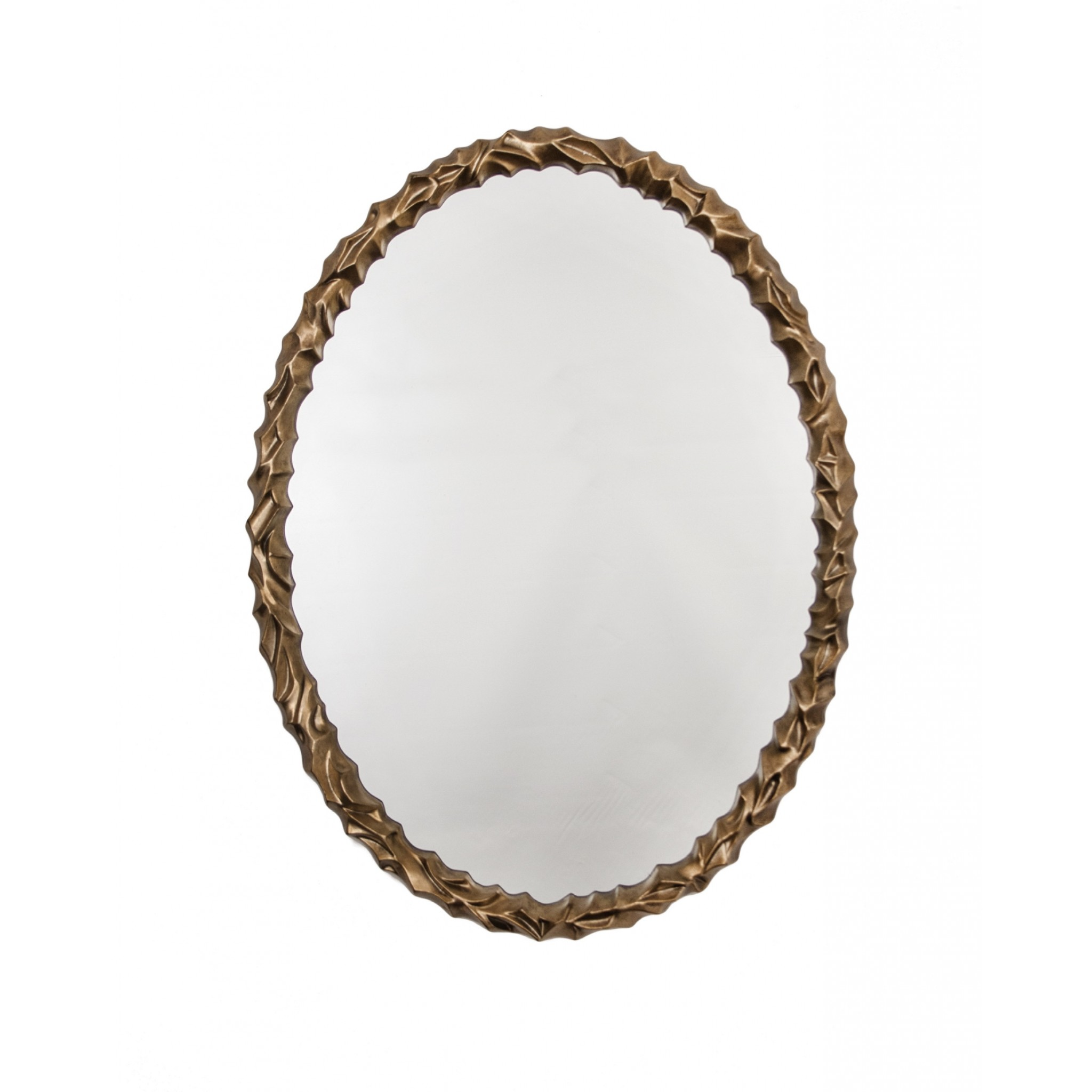 RV Astley Angelic Oval Distressed Light Gold Leaf Mirror