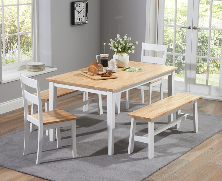 Chichester 150 cm Oak and Cream Dining Table + 2 Chairs + 2 Large Benches