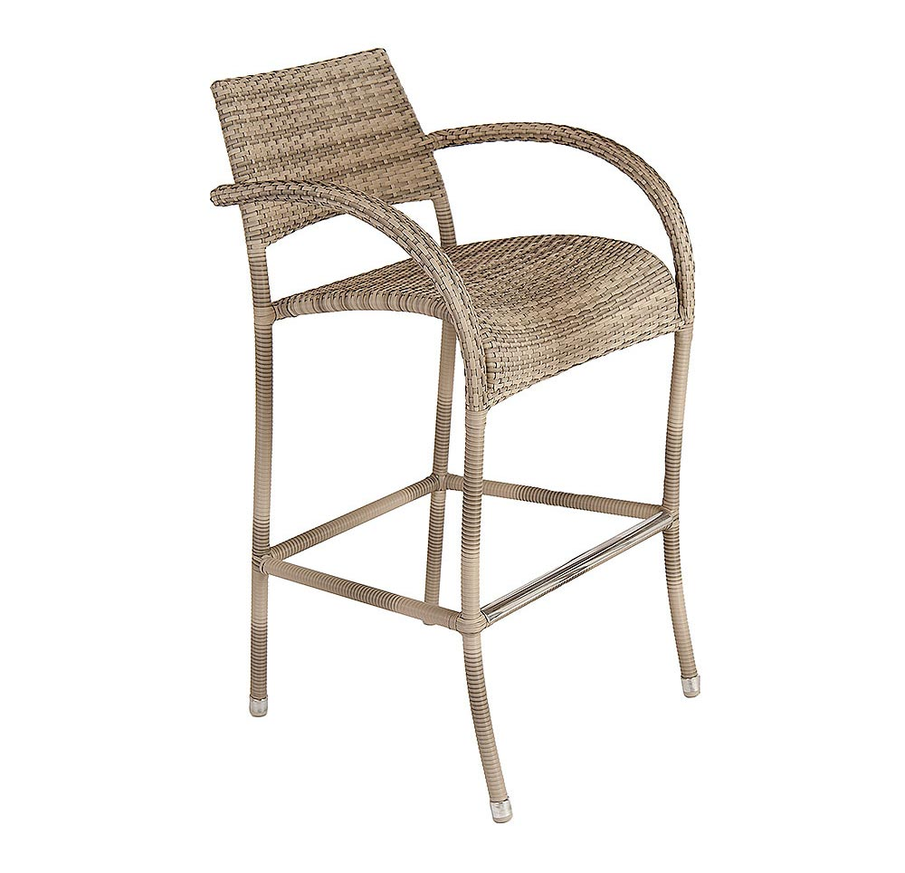 Alexander Rose Ocean Pearl Fiji Rattan High Bar Stool