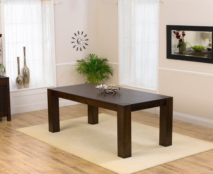 Madrid Chunky Dark Wood Solid Oak Dining Table in a