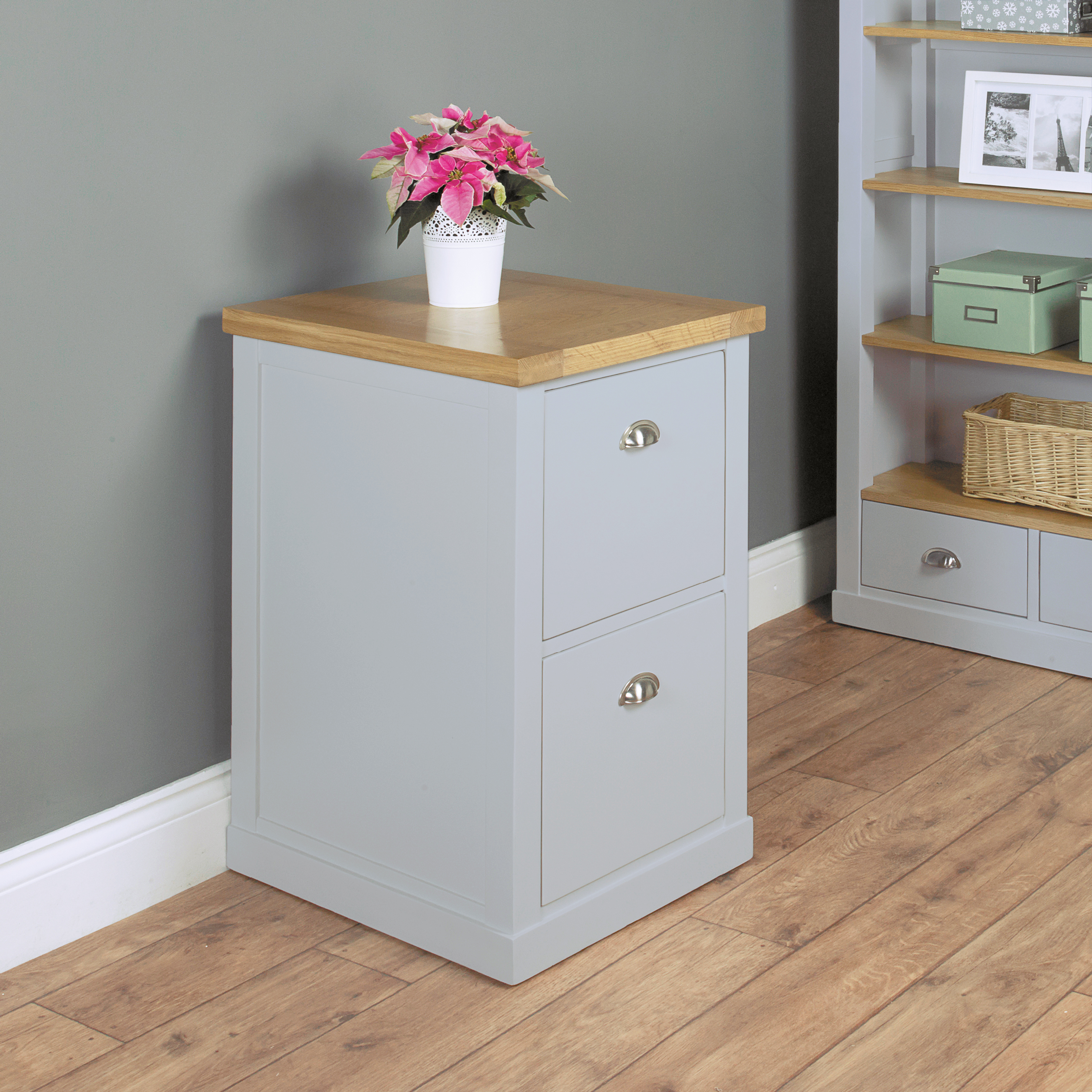 Photo of Chadwick grey painted two drawer filing cabinet