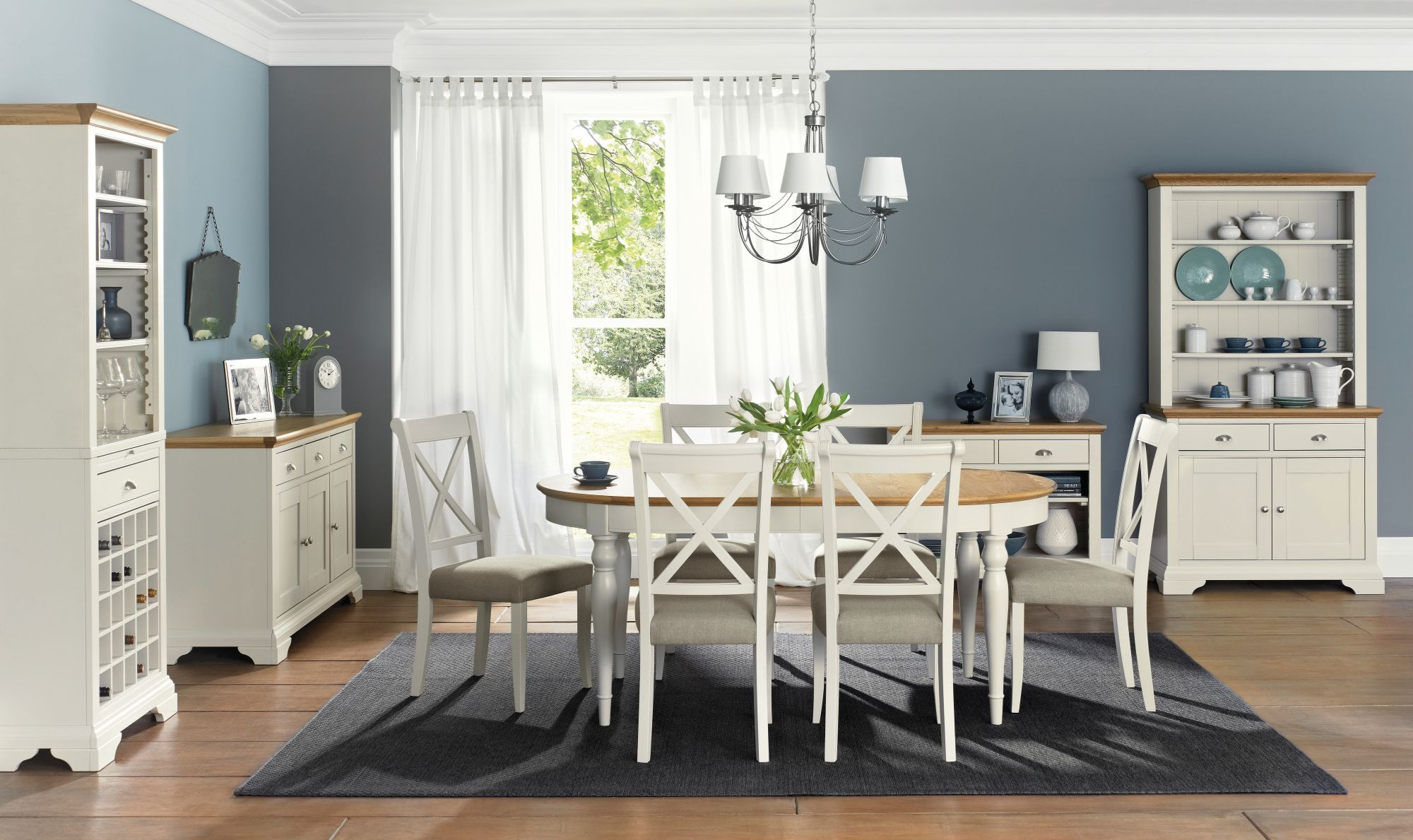 Bentley Designs Hampstead Soft Grey & Oak 6-8 Dining Table