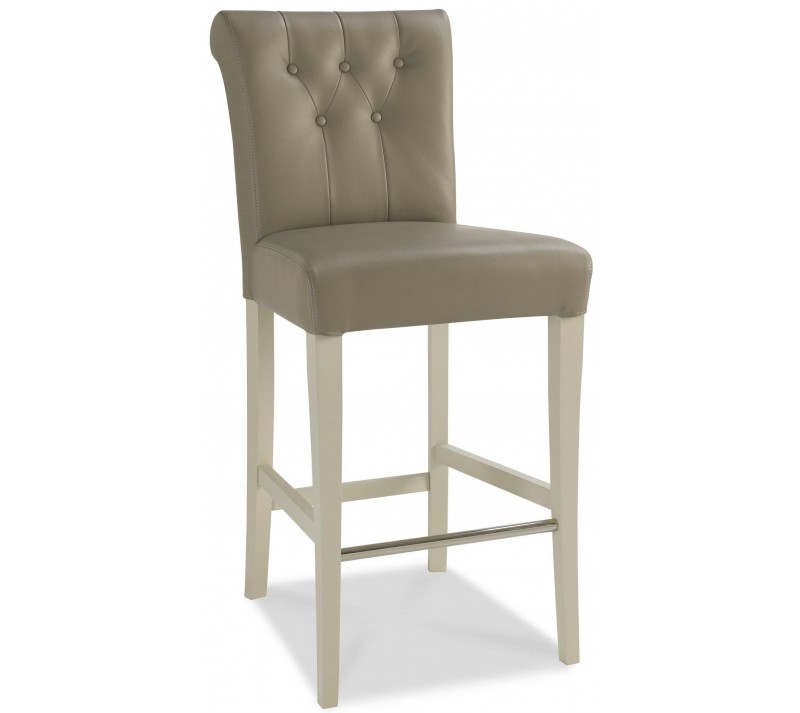 Photo of Bentley designs hampstead soft grey upholstered bar stool pair