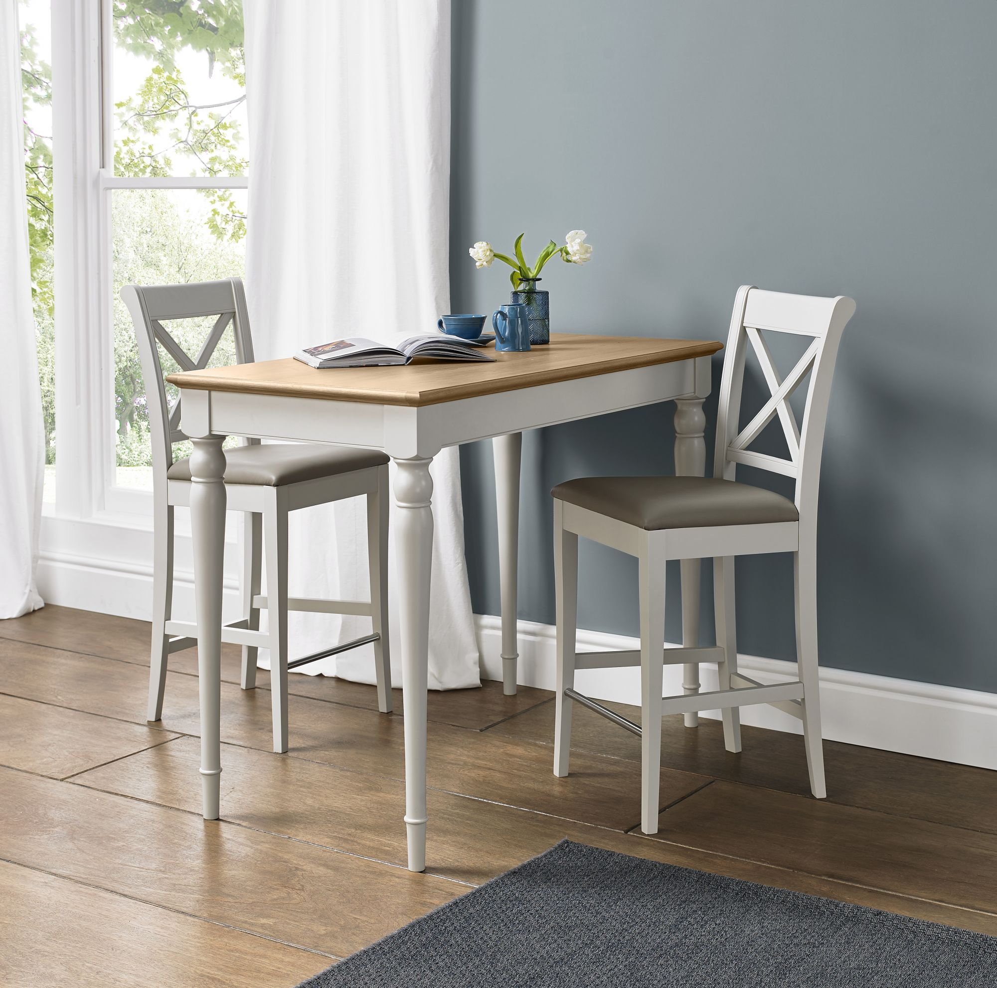 Photo of Bentley designs hampstead two tone bar table & 2 x back bar stools