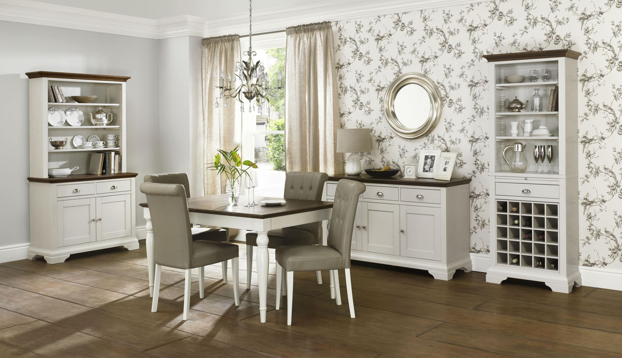 Bentley Designs Hampstead Soft Grey Walnut 6 8 Table Olive Chairs GBP166995 Beatrice Oak Dining With Strip And Leather Ch
